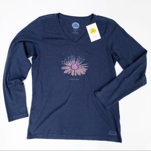 Life Is Good Blue Flower Long Sleeve T-Shirt Sz M